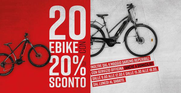 20 eBike con sconto 20% – fino al 18 Maggio 2020